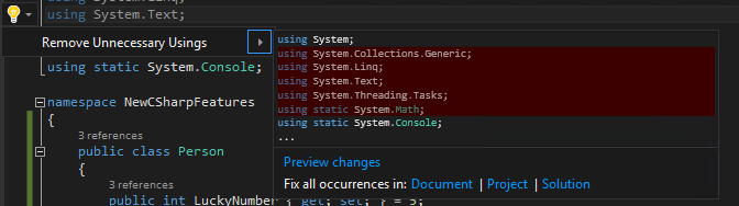 Visual Studio Light bulb Feature