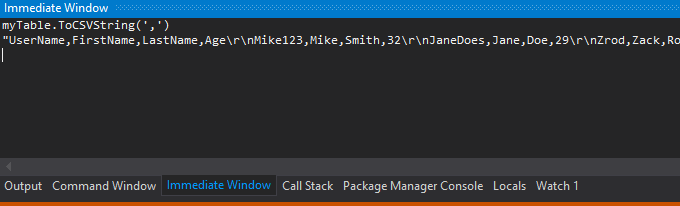 Using the Immediate Window to quickly save off data from a DataTable while stopped at a break point via Extension Methods.